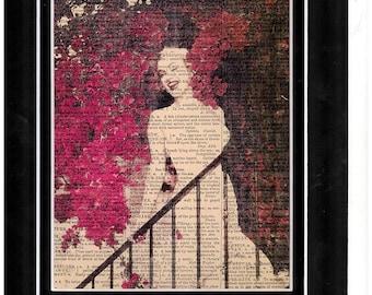 245 Vintage Dictionary paper art/ Mariyln Monroe art/garden