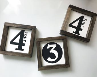Gallery Wall Number Sign   Gallery Wall Decor   Farmhouse Gallery Wall   Wall Decor   Rustic Decor   Small Sign   Family Number Sign