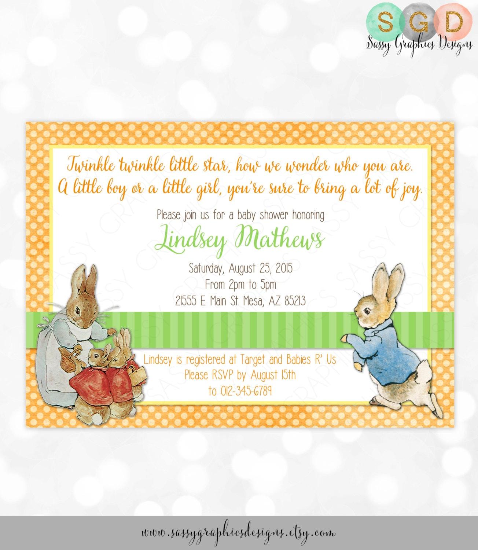 Neutral Baby Shower Invitation Boy or Girl Orange