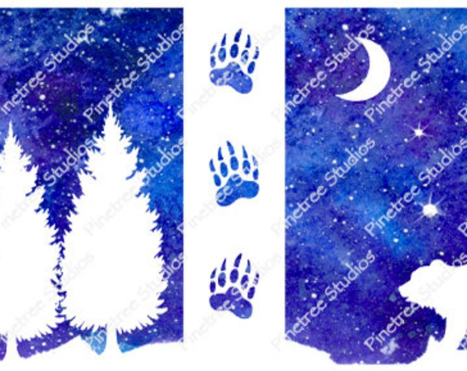 White Silhouette Bear ~ Sublimation Artwork for Mugs / Digital Download Only