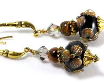 Black Floral Lampwork Earrings, Brown Flowers, Tigers Eye, Swarovski Crystals