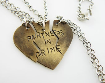 Partners in Crime, Necklace Set, hand stamped,  Broken Heart Set, Puzzle Pieces , Best Friends, Sister Jewelry,  Mother Daughter, Christmas
