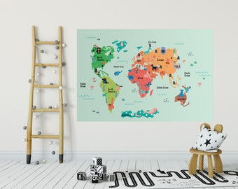 World map wall decal removable self adhesive temporary vinyl childs room world map wall decal removable wallpaper self adhesive world map nursery gumiabroncs Image collections