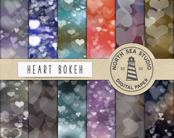 Hearts Bokeh Digital Paper, Bokeh Valentine Digital Paper, Valentine Backgrounds, Lovely Sparkle Papers, Romantic Lights, BUY5FOR8