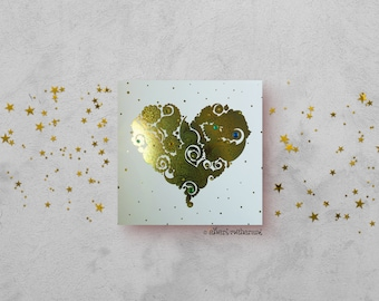 Sea Green Love Heart Card - Gold Foil Card - Love Card - All Occasions Card - Blank Card - Card for Girlfriend - Card for Boyfriend