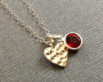 Silver Hammered Heart Pendant with Swarovski Crystal in Red - Valentines Day I Love You Choose Your Color