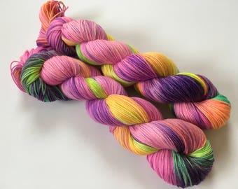 Sweet Peas in Sunshine Hand Dyed Superwash Merino Sock Yarn