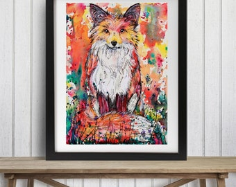 Watercolor fox, Fox decor, Woodland decor, Fox art print, Red fox art