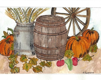 Original Pen and Ink with Watercolor Painting - Fall Harvest Scene - Pumpkins - Wagon Wheel - Milk Can - Wooden Barrel