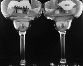 His and Hers Mustache and Lips Margarita glasses by Jackglass on Etsy