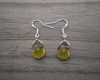 Faceted Olive Green Glass French Hook Earrings
