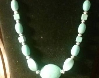 Turquoise beaded western necklace Turquoise and Silver beaded necklace Womens western accessory cowgirl necklace