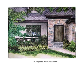 READY TO SHIP! Last Minute Gift! Stone House, Chicago, Watercolor art print on wood panel — ready to hang