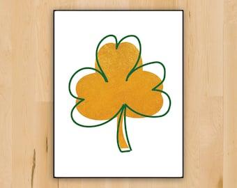 Shamrock Irish Decor, Printable Celtic St. Patrick's Day Gold and Green Shamrock Decor, Wall Decoration