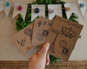 Set of 3 stamped cards/postcards- Paris themed