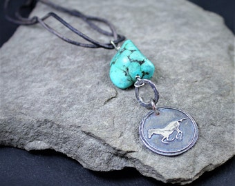 Fine Silver And Turquoise Necklace On Leather