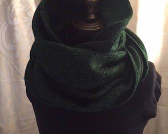 Green and Black wool cowl/hood
