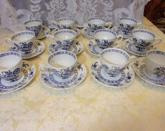 Mixed Set of Twelve Cups and Saucers Blue Nordic Blue White Blue Onion Floral Design Rim Center Johnson Bros J G Meakin Made in England