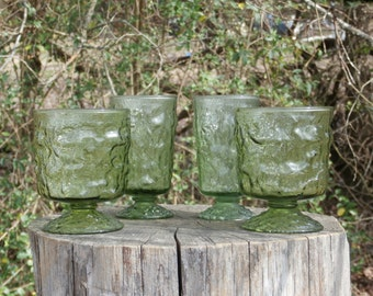 Vintage Green Crinkle Glass 2 Footed Juices and 2 Rocks Tumbles, Anchor Hocking Lido or Similar