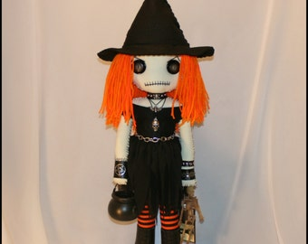 OOAK Hand Stitched Witch Rag Doll Creepy Gothic Halloween Folk Art By Jodi Cain Tattered Rags