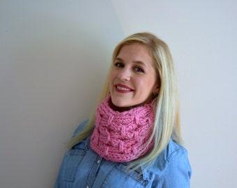 PInk Knit Cowl, Chunky Pink Knit Circle Scarf