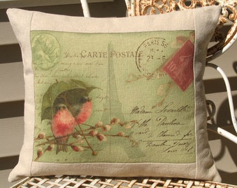 French Carte Postale Bird Pillow Cottage Decorative Throw Pillow Cover, Shabby Chic