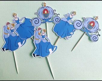 cinderella cupcake toppers, disney cupcake toppers, cinderella decorations, cinderella party, set of 24, cinderella birthday decorations