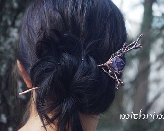 "Elven forest hairpin ""Samhain"", hair stick, amethyst crystal, Branch hairpin, hair accessory, elven jewelry, copper hair pin, nice hairstick"