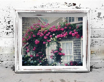 Photo Print - Rose Cottage, Nantucket Island Roses, Cape Cod Cottages, Shabby Chic, Vintage Photography