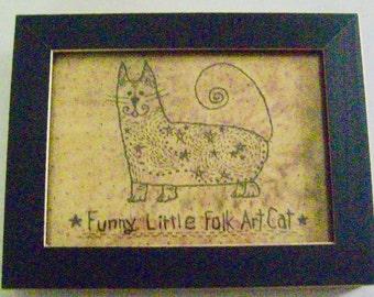 "Primitive Folk Art FRAMED ""Funny Little Folk Art Cat"" - Copyright Lithograph Print of Original Primitive Folk Art Cat Stitchery"