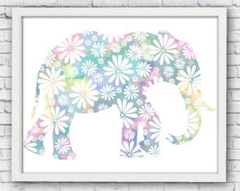 Elephant, printable elephant, elephant silhouette, floral elephant, silhouete flowers, elepahnt poster, nursery wall art, babys room art
