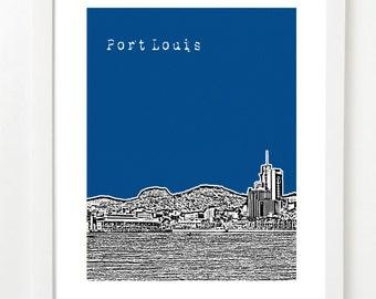 Port Louis Mauritius Skyline Poster - Mauritius Travel Art - Port Louis Print