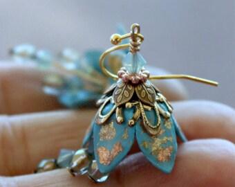 Dangle Crystal Earrings, Dangle Aqua Earrings, Drop Crystal Earrings, Dangle Resin Earrings, Drop Brass Earrings, Dangle Blue Earrings