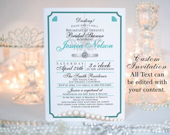 "Breakfast at Tiffany's Invitation || Bridal Showers, Birthday Party, Bachelorette Parties || Custom Digital Download || 5""x7"" 