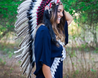 The Original - Real Goose Feather Chief Indian Inspired Headdress 100cm, Native American Style Costume Hand Made War Bonnet Hat