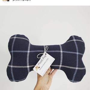 Dog bone toy, dog bone pillow, Plaid dog pillow, dog toy, Dog Bone