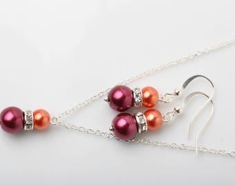 Burgundy and orange Bridesmaid jewelry set, pearl jewelry set, Autumn Fall wedding jewelry, Orange and Burgundy jewelry set, bridesmaid gift