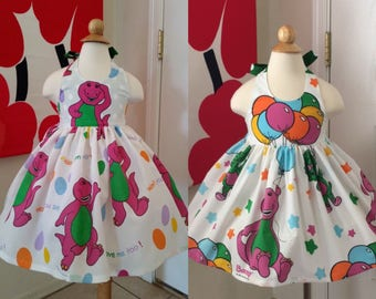 Custom Made to Order Barney party dress Sz 12m to 6T