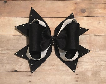 Black and white layered boutique bow