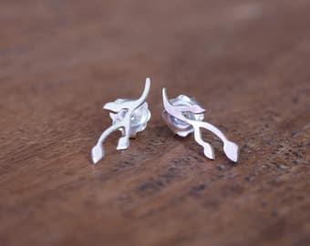 Sterling Silver Budding Twig Earrings