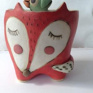 Handmade Stoneware Sleeping Fox With Little Bird Plant Pot, Cactus Planter,  Succulent Planter,