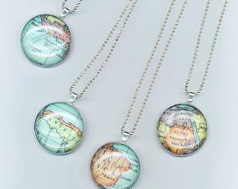 Vintage world map necklace etsy gumiabroncs Choice Image