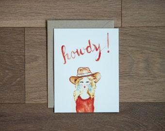 Howdy card- southwestern - hippie cowgirl - texas - southwest card