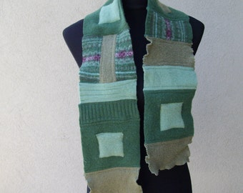 Felted wool scarf in greens with appliqued squares
