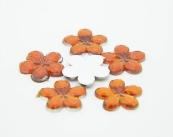 45 x strass flower 10mm orange (l623)
