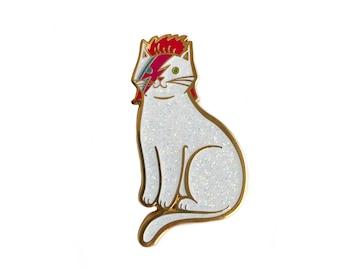 Bowie Cat Enamel Pin - Bowie Cat Pin -Glitter Cat Pin - Kitty Stardust