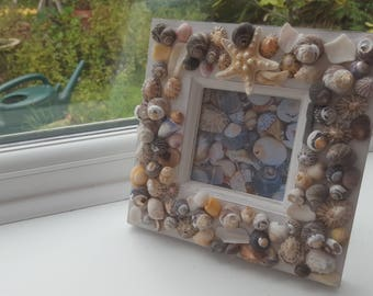Wooden photo frame with sea shells and starfish decorations, seashell picture frame