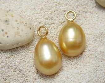 Golden South Sea Pearl Earring Drops or Dangles