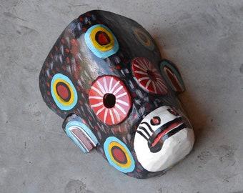 Tribal Mask - Intervened Black Monkey Mask -  Carved Mask from Guatemala
