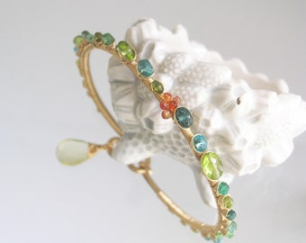 Peridot Apatite Gold Filled Bangle, Green and Turquoise Bracelet, Orange Sapphire, Summer Beach Ocean, Artisan Designed